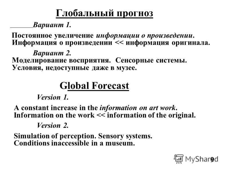 Глобальный прогноз Вариант 1. Постоянное увеличение информации о произведении. Информация о произведении