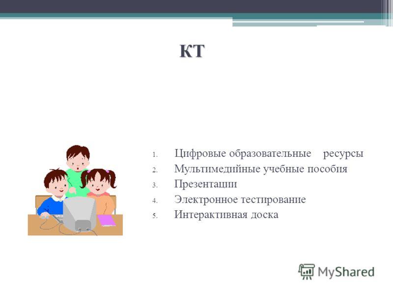 КТ 1. Цифровые образовательные ресурсы 2. Мультимедийные учебные пособия 3. Презентации 4. Электронное тестирование 5. Интерактивная доска
