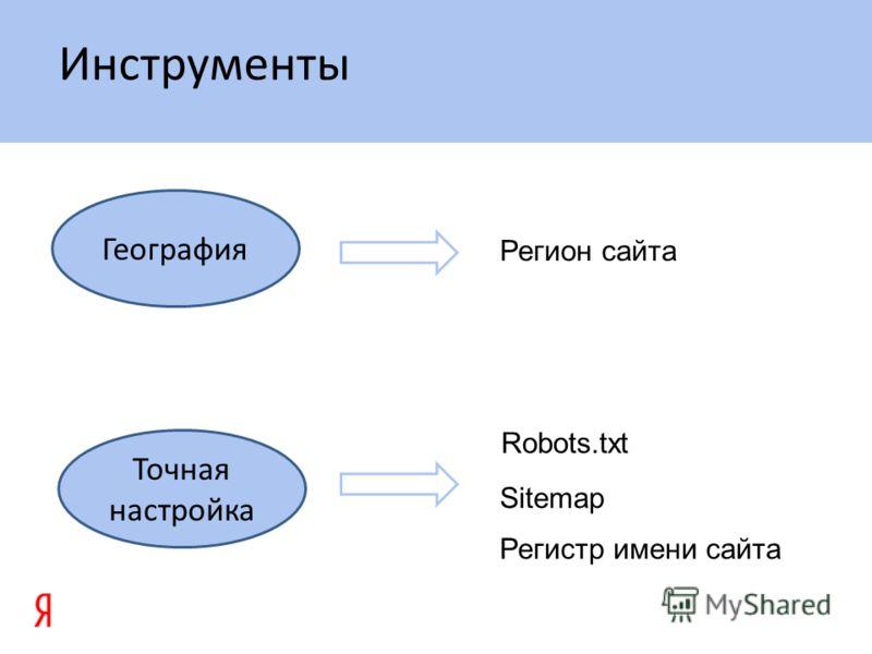 Инструменты География Регион сайта Robots.txt Sitemap Регистр имени сайта Точная настройка