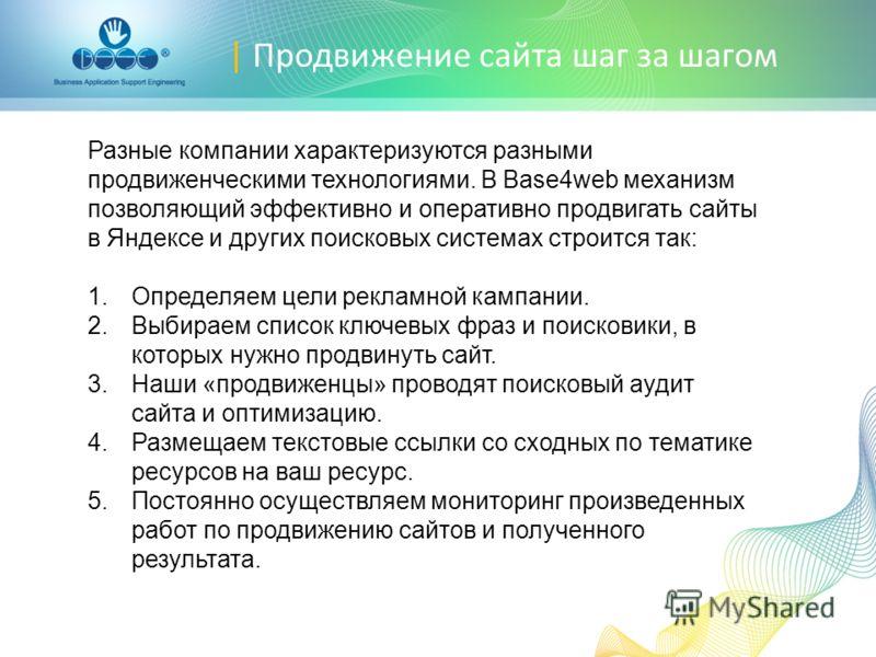 | Продвижение сайта шаг за шагом Разные компании характеризуются разными продвиженческими технологиями. В Base4web механизм позволяющий эффективно и оперативно продвигать сайты в Яндексе и других поисковых системах строится так: 1.Определяем цели рек