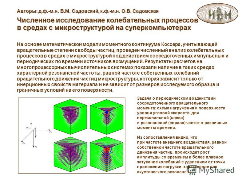 На основе математической модели моментного континуума Коссера, учитывающей вращательные степени свободы частиц, проведен численный анализ колебательных процессов в средах с микроструктурой под действием сосредоточенных импульсных и периодических по в