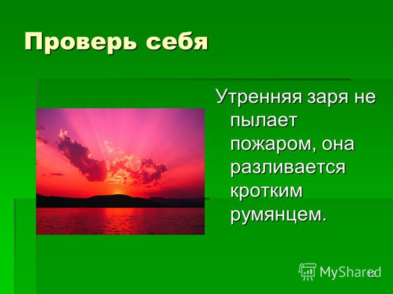 12 Проверь себя Утренняя заря не пылает пожаром, она разливается кротким румянцем.
