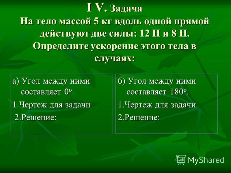 І V. Задача На тело массой 5 кг вдоль одной прямой действуют две силы: 12 Н и 8 Н. Определите ускорение этого тела в случаях: а) Угол между ними составляет 0 о. 1.Чертеж для задачи 2.Решение: 2.Решение: б) Угол между ними составляет 180 о. 1.Чертеж д