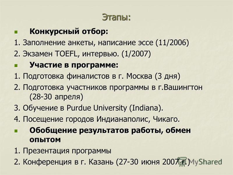 Этапы: Конкурсный отбор: Конкурсный отбор: 1. Заполнение анкеты, написание эссе (11/2006) 2. Экзамен TOEFL, интервью. (1/2007) Участие в программе: Участие в программе: 1. Подготовка финалистов в г. Москва (3 дня) 2. Подготовка участников программы в