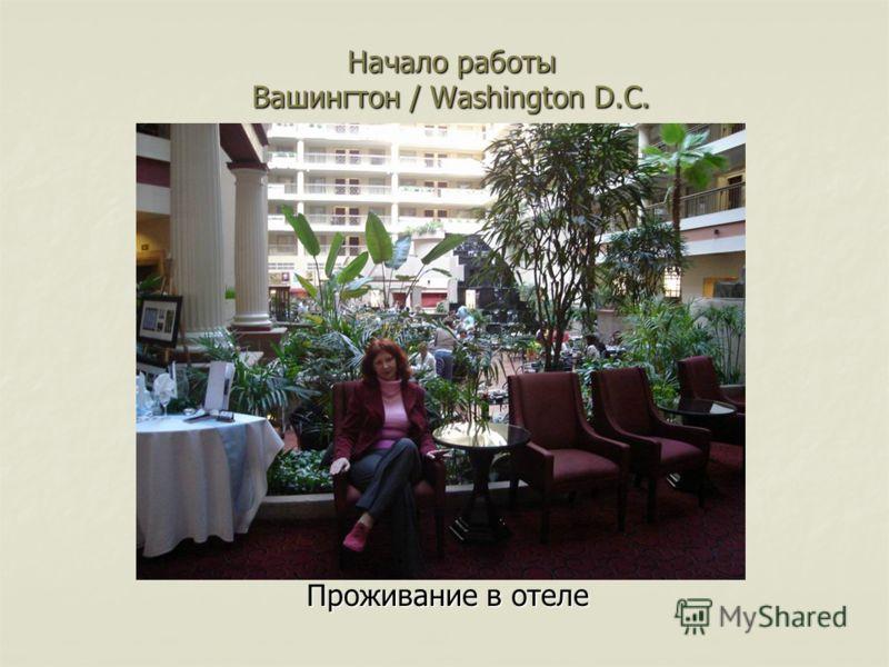 Начало работы Вашингтон / Washington D.C. Проживание в отеле