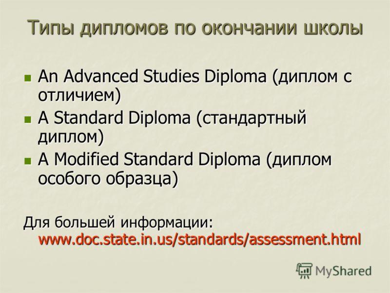 Типы дипломов по окончании школы An Advanced Studies Diploma (диплом с отличием) An Advanced Studies Diploma (диплом с отличием) A Standard Diploma (стандартный диплом) A Standard Diploma (стандартный диплом) A Modified Standard Diploma (диплом особо