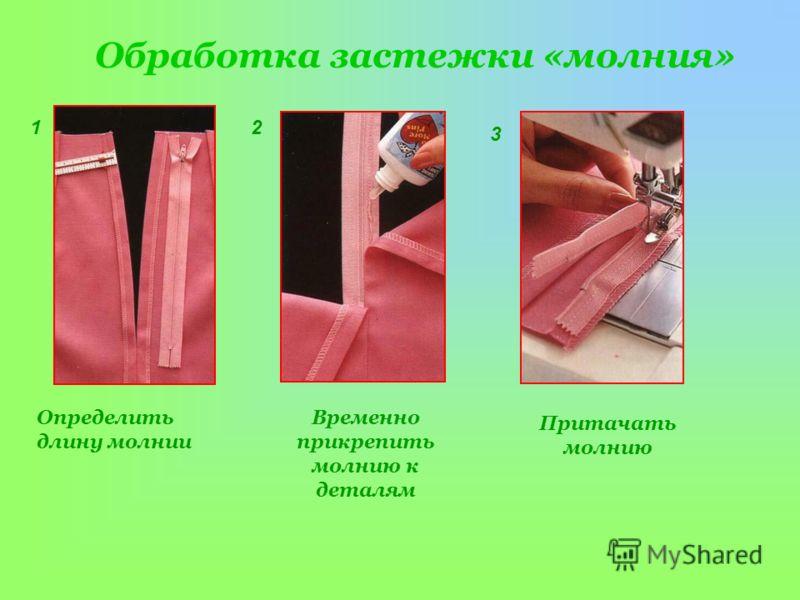 Обработка застежки «молния» Определить длину молнии Временно прикрепить молнию к деталям 12 Притачать молнию 3