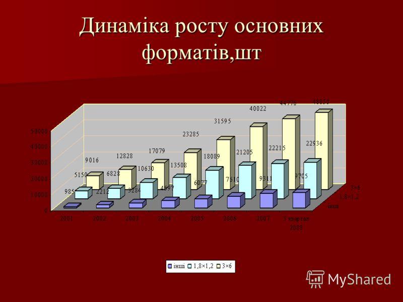 Динаміка росту основних форматів,шт