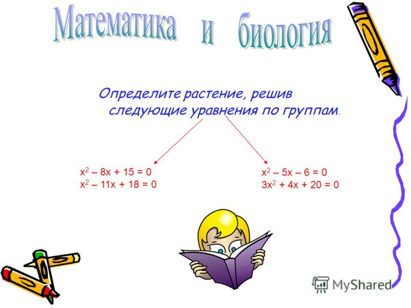Определите растение, решив следующие уравнения по группам. х 2 – 5х – 6 = 0 3х 2 + 4х + 20 = 0 х 2 – 8х + 15 = 0 х 2 – 11х + 18 = 0