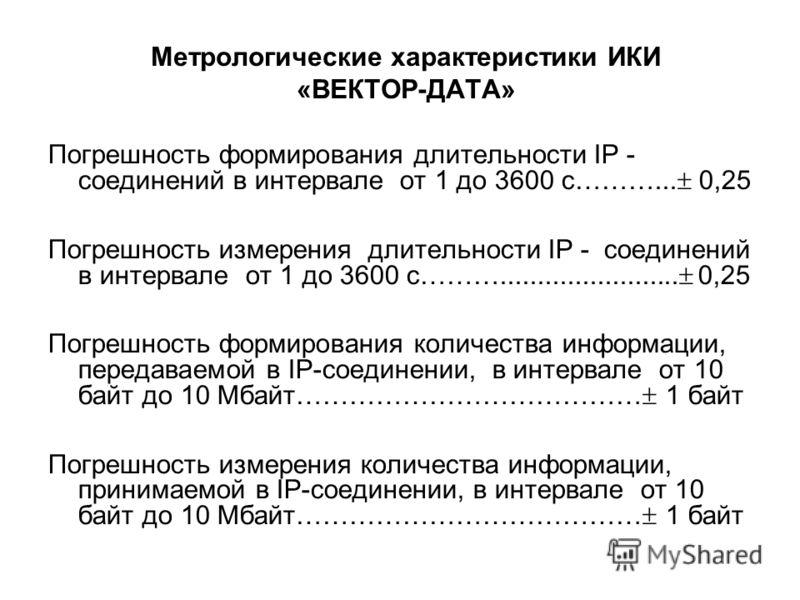 Метрологические характеристики ИКИ «ВЕКТОР-ДАТА» Погрешность формирования длительности IP - соединений в интервале от 1 до 3600 с………... 0,25 Погрешность измерения длительности IP - соединений в интервале от 1 до 3600 с………........................ 0,25
