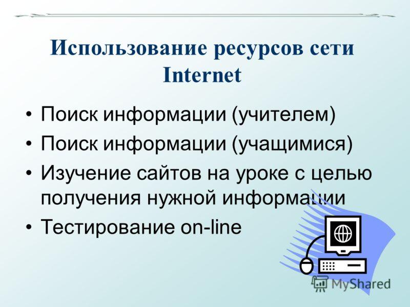 Использование ресурсов сети Internet Поиск информации (учителем) Поиск информации (учащимися) Изучение сайтов на уроке с целью получения нужной информации Тестирование on-line