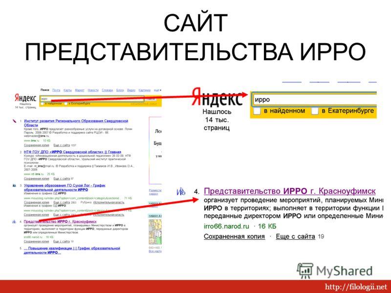 http://filologii.net САЙТ ПРЕДСТАВИТЕЛЬСТВА ИРРО