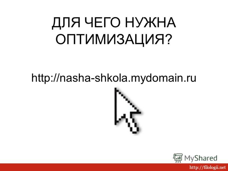 http://filologii.net ДЛЯ ЧЕГО НУЖНА ОПТИМИЗАЦИЯ? http://nasha-shkola.mydomain.ru