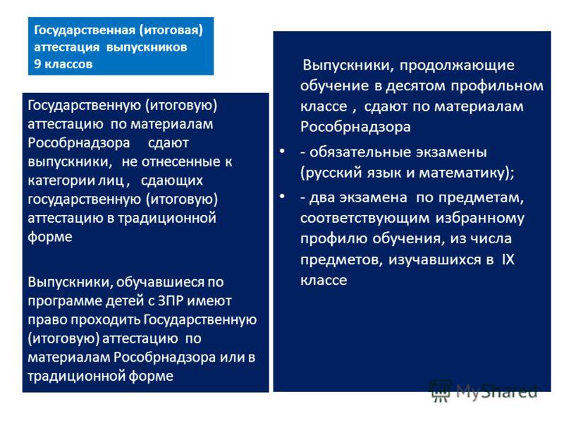 Государственная (итоговая) аттестация выпускников 9 классов Выпускники, продолжающие обучение в десятом профильном классе, сдают по материалам Рособрнадзора - обязательные экзамены (русский язык и математику); - два экзамена по предметам, соответству