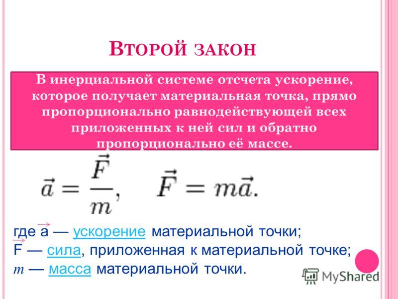 В ТОРОЙ ЗАКОН В инерциальной системе отсчета ускорение, которое получает материальная точка, прямо пропорционально равнодействующей всех приложенных к ней сил и обратно пропорционально её массе. где a ускорение материальной точки; F сила, приложенная