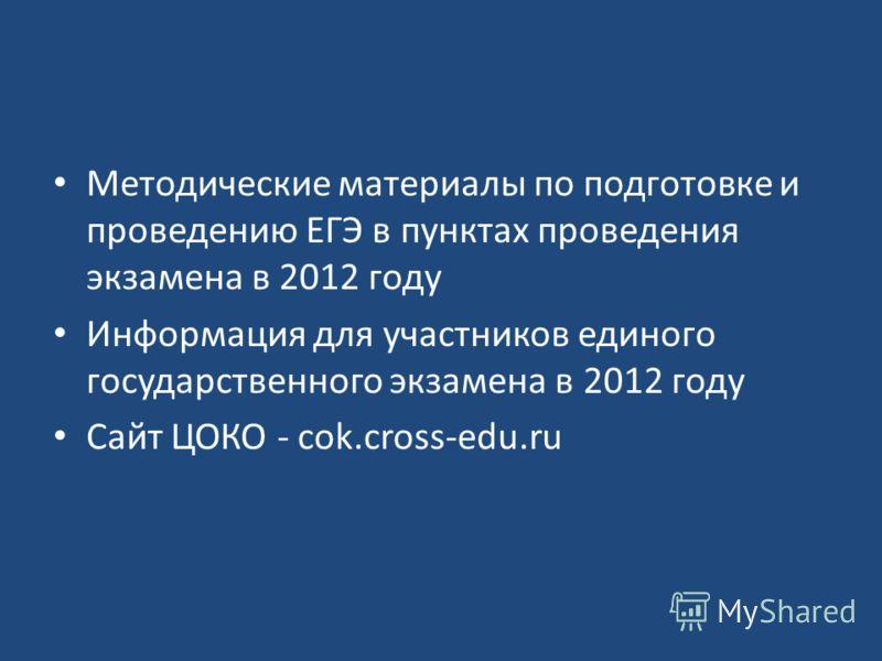 Методические материалы по подготовке и проведению ЕГЭ в пунктах проведения экзамена в 2012 году Информация для участников единого государственного экзамена в 2012 году Сайт ЦОКО - cok.cross-edu.ru