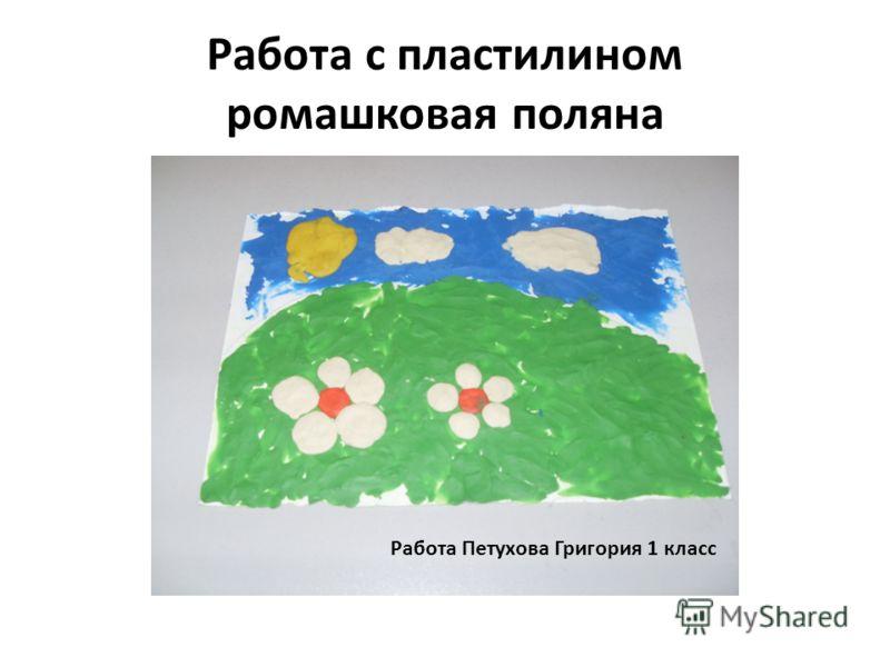 Работа с пластилином ромашковая поляна Работа Михеева Максима 1 класс Работа Петухова Григория 1 класс