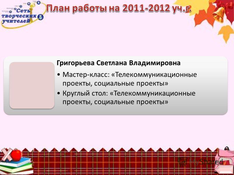 Григорьева Светлана Владимировна Мастер-класс: «Телекоммуникационные проекты, социальные проекты» Круглый стол: «Телекоммуникационные проекты, социальные проекты»