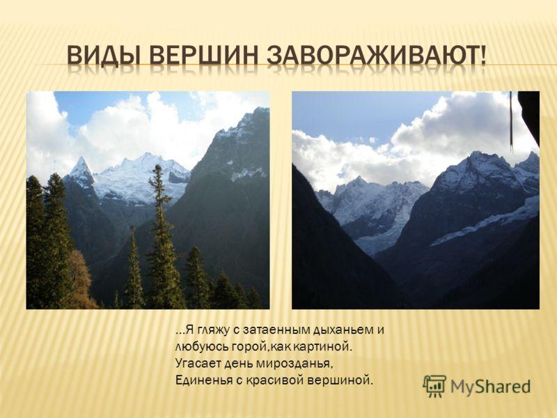 …Я гляжу с затаенным дыханьем и любуюсь горой,как картиной. Угасает день мирозданья, Единенья с красивой вершиной.