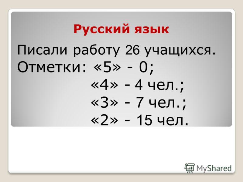 Русский язык Писали работу 26 учащихся. Отметки: «5» - 0; «4» - 4 чел. ; «3» - 7 чел.; «2» - 15 чел.