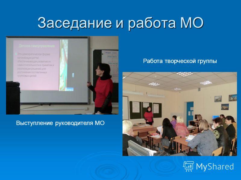 Заседание и работа МО Выступление руководителя МО Работа творческой группы