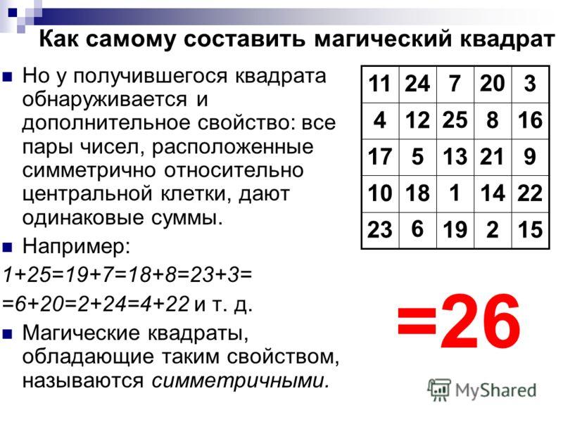 Как самому составить магический квадрат Но у получившегося квадрата обнаруживается и дополнительное свойство: все пары чисел, расположенные симметрично относительно центральной клетки, дают одинаковые суммы. Например: 1+25=19+7=18+8=23+3= =6+20=2+24=