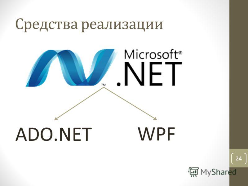 24 Средства реализации ADO.NET WPF