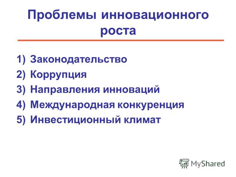 Проблемы инновационного роста 1)Законодательство 2)Коррупция 3)Направления инноваций 4)Международная конкуренция 5)Инвестиционный климат