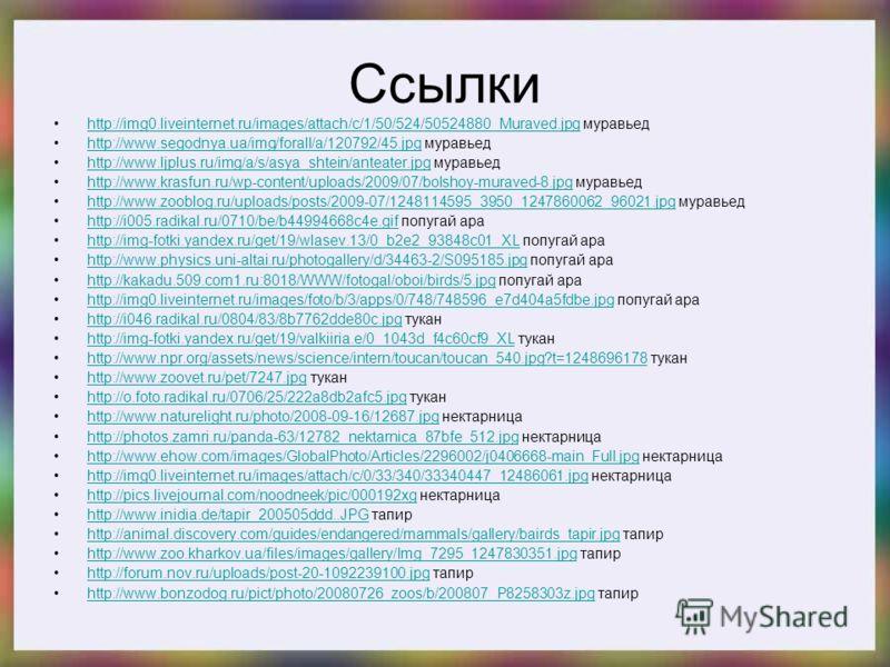Ссылки http://img0.liveinternet.ru/images/attach/c/1/50/524/50524880_Muraved.jpg муравьедhttp://img0.liveinternet.ru/images/attach/c/1/50/524/50524880_Muraved.jpg http://www.segodnya.ua/img/forall/a/120792/45.jpg муравьедhttp://www.segodnya.ua/img/fo