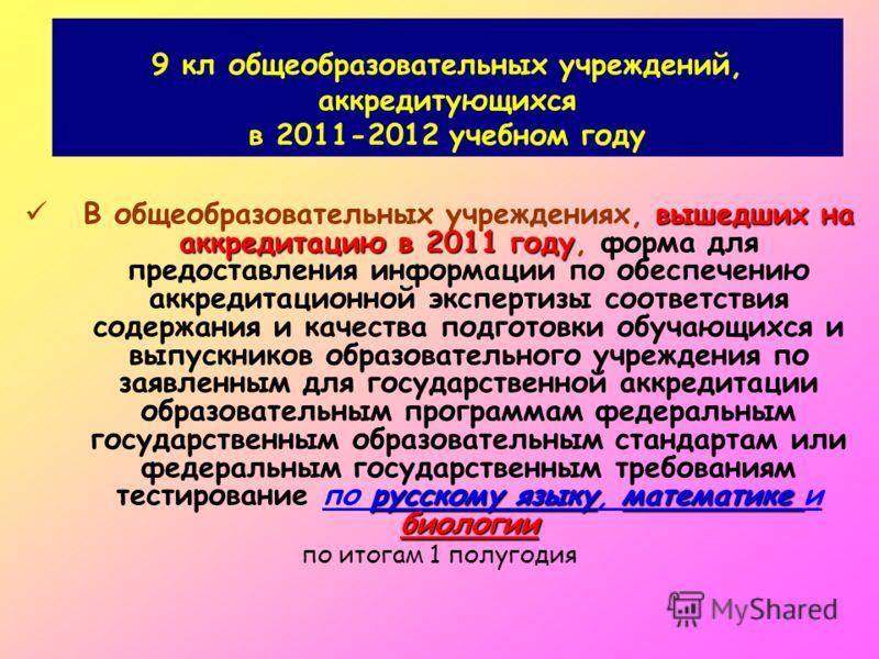 9 кл общеобразовательных учреждений, аккредитующихся в 2011-2012 учебном году вышедших на аккредитацию в 2011 году русскому языкуматематике биологии В общеобразовательных учреждениях, вышедших на аккредитацию в 2011 году, форма для предоставления инф