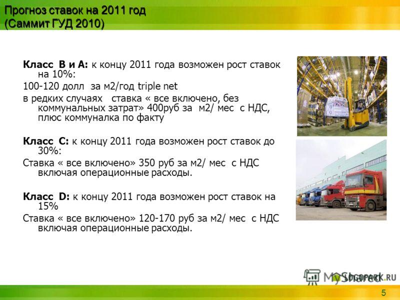 5 Прогноз ставок на 2011 год (Саммит ГУД 2010) Класс B и А: к концу 2011 года возможен рост ставок на 10%: 100-120 долл за м2/год triple net в редких случаях ставка « все включено, без коммунальных затрат» 400руб за м2/ мес с НДС, плюс коммуналка по