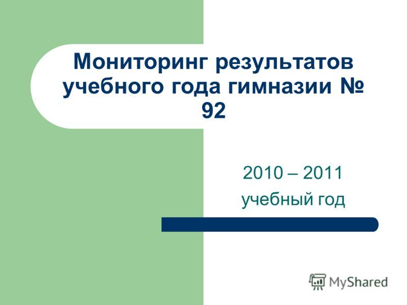 Мониторинг результатов учебного года гимназии 92 2010 – 2011 учебный год