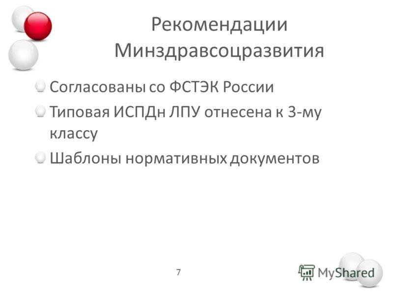 Рекомендации Минздравсоцразвития 7 Согласованы со ФСТЭК России Типовая ИСПДн ЛПУ отнесена к 3-му классу Шаблоны нормативных документов