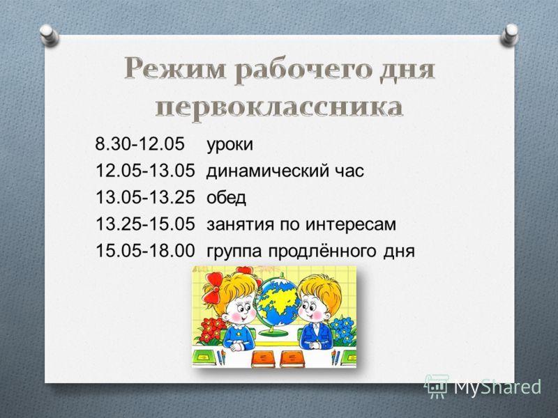 8.30-12.05 уроки 12.05-13.05 динамический час 13.05-13.25 обед 13.25-15.05 занятия по интересам 15.05-18.00 группа продлённого дня