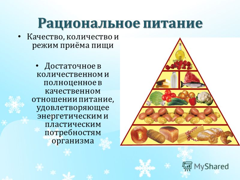 Рациональное питание Качество, количество и режим приёма пищи Достаточное в количественном и полноценное в качественном отношении питание, удовлетворяющее энергетическим и пластическим потребностям организма