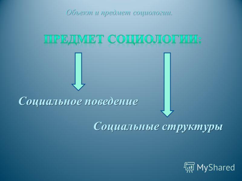 Социальное поведение Социальное поведение Объект и предмет социологии.