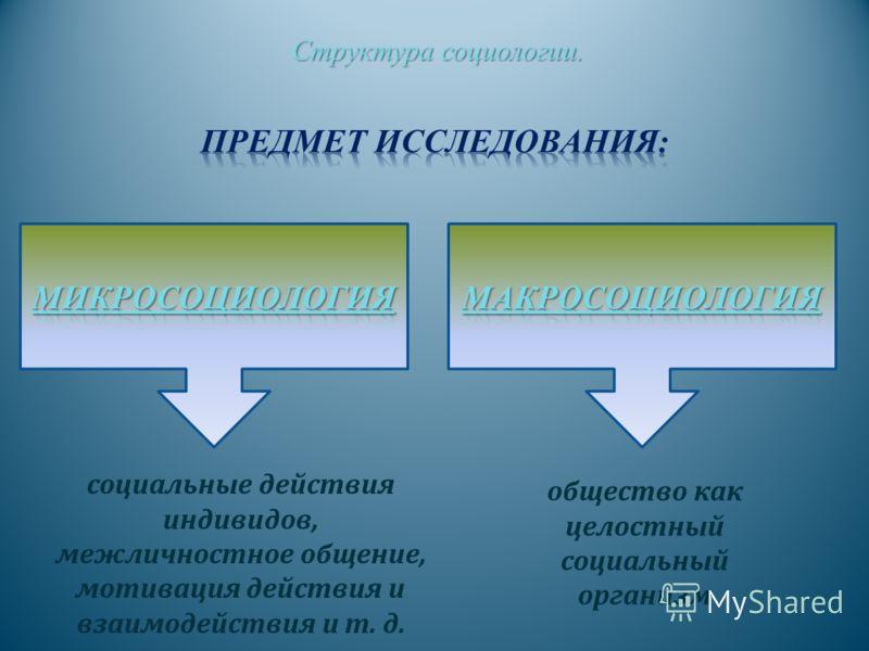 Структура социологии. Структура социологии. социальные действия индивидов, межличностное общение, мотивация действия и взаимодействия и т. д. общество как целостный социальный организм