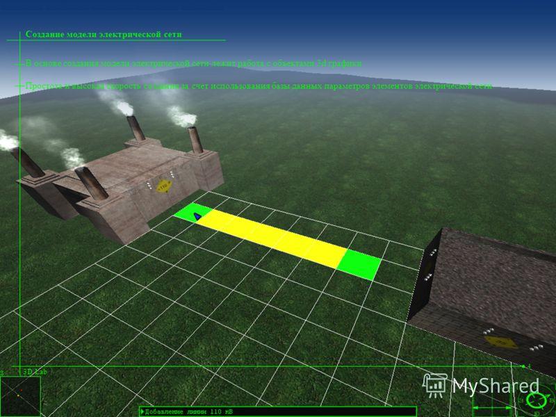 В основе создания модели электрической сети лежит работа с объектами 3d графики Простота и высокая скорость создания за счет использования базы данных параметров элементов электрической сети Создание модели электрической сети 3D Lab 4