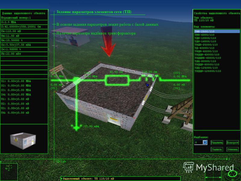 В основе задания параметров лежит работа с базой данных Задание параметров элементов сети (ТП) 3D Lab 6 Наличие параметра надбавок трансформатора