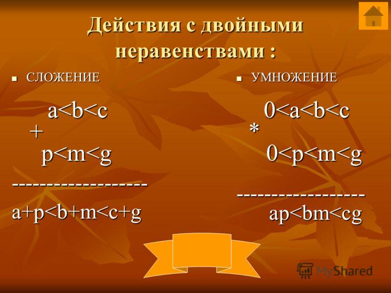 Рассмотрим свойства числовых неравенств : 1. для любых чисел a и b: если a>b, то b b, то bb, a b>c, верно: a>c (свойство транзитивности) 2. для любых чисел a,b и c таких, что a>b, a b>c, верно: a>c (свойство транзитивности) 3. если a>b и c-любое числ