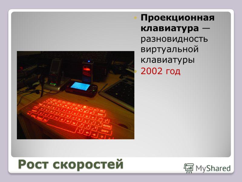 Рост скоростей Проекционная клавиатура разновидность виртуальной клавиатуры 2002 год