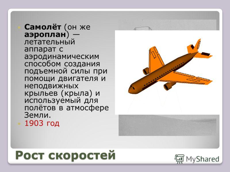Рост скоростей Самолёт (он же аэроплан) летательный аппарат с аэродинамическим способом создания подъемной силы при помощи двигателя и неподвижных крыльев (крыла) и используемый для полётов в атмосфере Земли. 1903 год