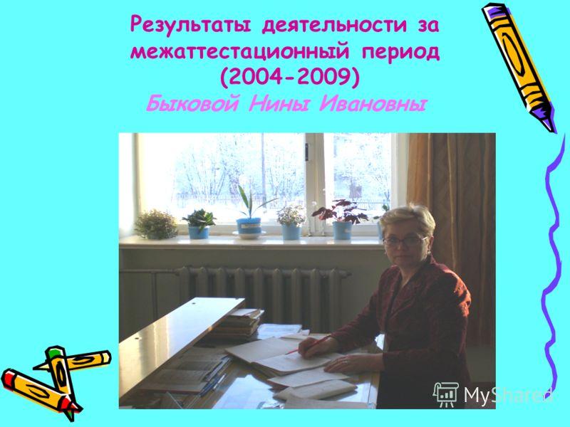 Результаты деятельности за межаттестационный период (2004-2009) Быковой Нины Ивановны