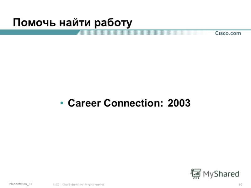 20 © 2001, Cisco Systems, Inc. All rights reserved. Presentation_ID Помочь найти работу Career Connection: 2003