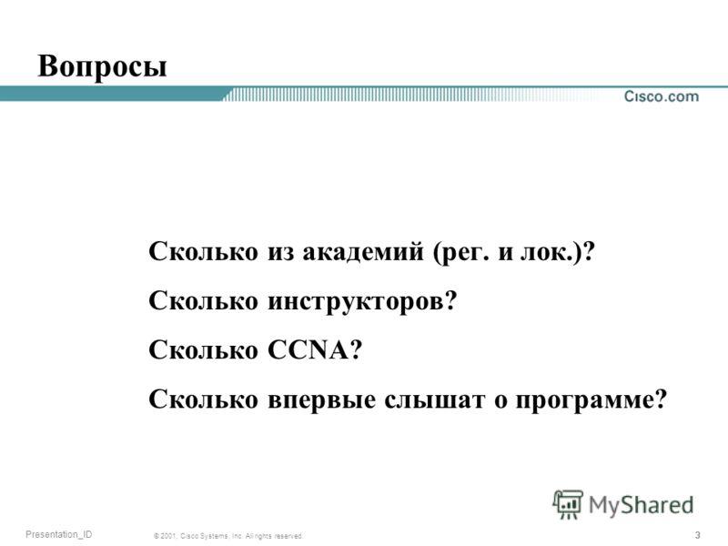 333 © 2001, Cisco Systems, Inc. All rights reserved. Presentation_ID Вопросы Сколько из академий (рег. и лок.)? Сколько инструкторов? Сколько CCNA? Сколько впервые слышат о программе?