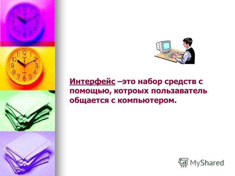 Интерфейс –это набор средств с помощью, котроых пользаватель общается с компьютером.