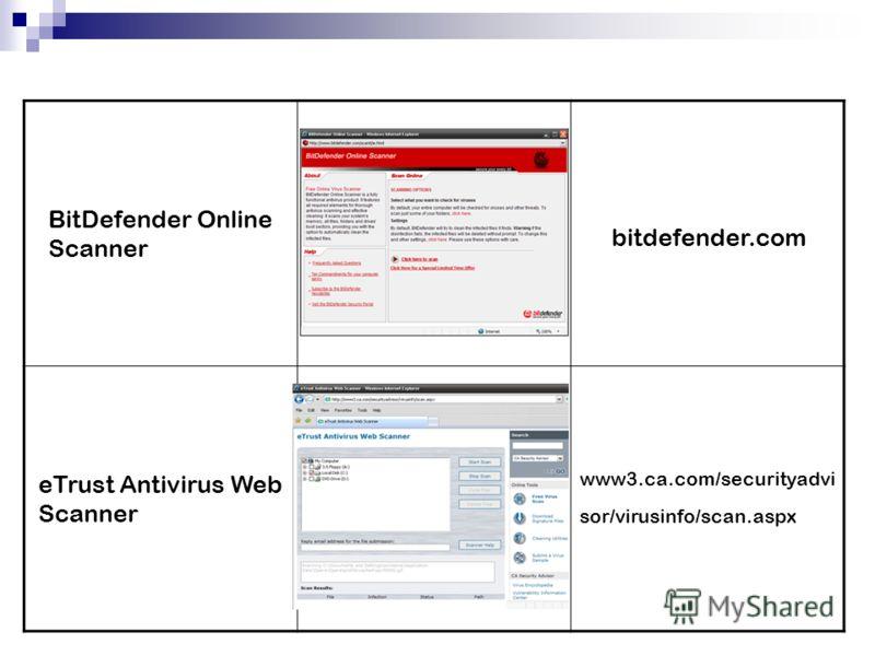 BitDefender Online Scanner bitdefender.com eTrust Antivirus Web Scanner www3.ca.com/securityadvi sor/virusinfo/scan.aspx