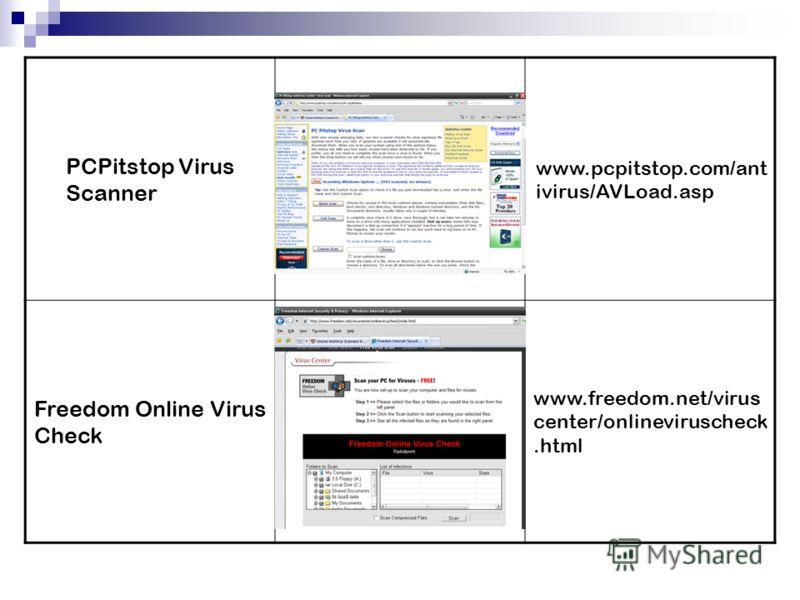 PCPitstop Virus Scanner www.pcpitstop.com/ant ivirus/AVLoad.asp Freedom Online Virus Check www.freedom.net/virus center/onlineviruscheck.html