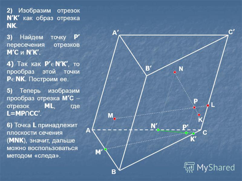 M N K P L 2) Изобразим отрезок NK как образ отрезка NK. 3) Найдем точку P пересечения отрезков MC и NK. 4) Так как P NK, то прообраз этой точки P NK. Построим ее. 5) Теперь изобразим прообраз отрезка M C отрезок ML, где L=MP CC. 6) Точка L принадлежи
