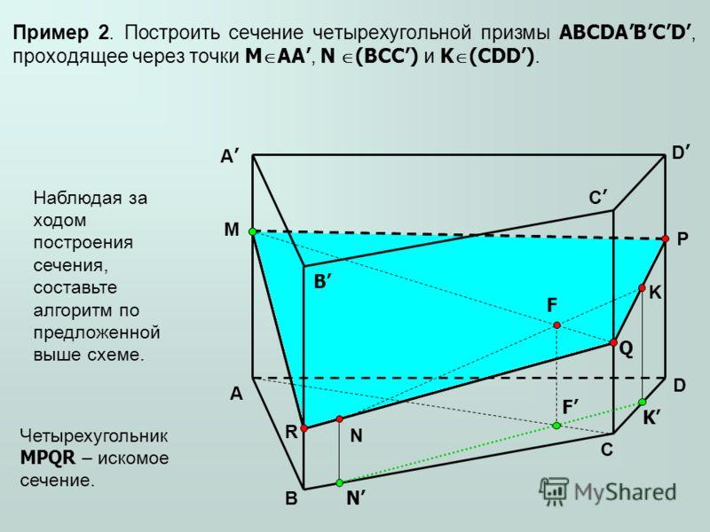 Пример 2. Построить сечение четырехугольной призмы ABCDABCD, проходящее через точки M AA, N (BCC) и K (CDD). A A B B C C D D M N K P Q R Наблюдая за ходом построения сечения, составьте алгоритм по предложенной выше схеме. N K F F Четырехугольник MPQR